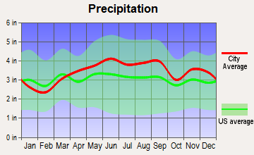 Maple Heights, Ohio average precipitation