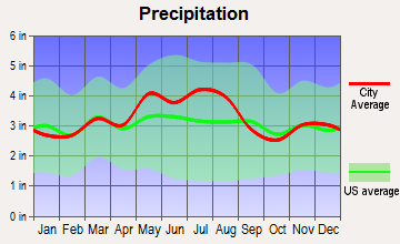 The Plains, Ohio average precipitation