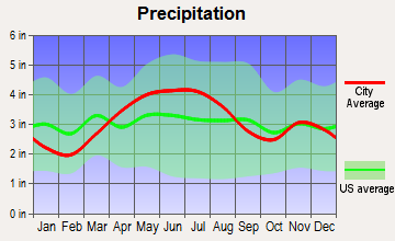 Valley Hi, Ohio average precipitation