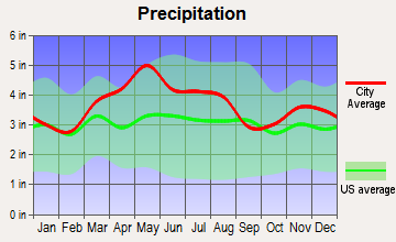 Wyoming, Ohio average precipitation