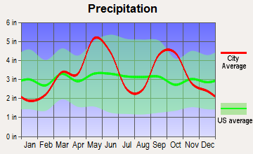 Dickson, Oklahoma average precipitation