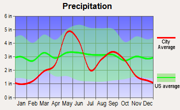 East Jackson, Oklahoma average precipitation
