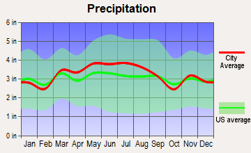 North Charleroi, Pennsylvania average precipitation