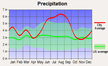 Bonneau, South Carolina average precipitation