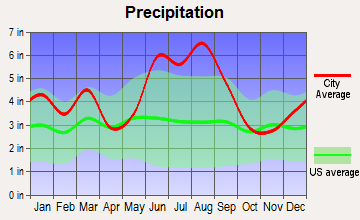 Cottageville, South Carolina average precipitation
