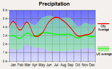 Dentsville, South Carolina average precipitation