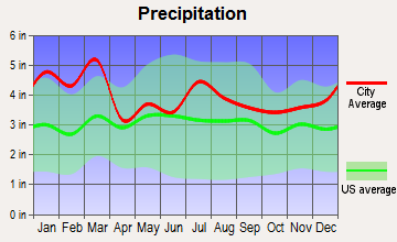 Due West, South Carolina average precipitation