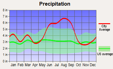 Hollywood, South Carolina average precipitation