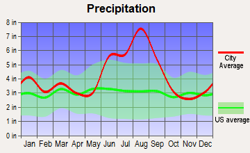 Parris Island, South Carolina average precipitation