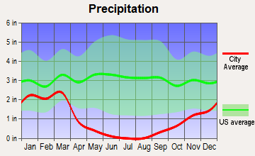 Poplar-Cotton Center, California average precipitation