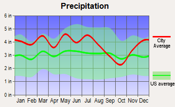 Whitesburg, Tennessee average precipitation