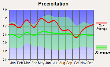 Knob Creek, Tennessee average precipitation