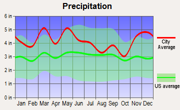 La Vergne, Tennessee average precipitation