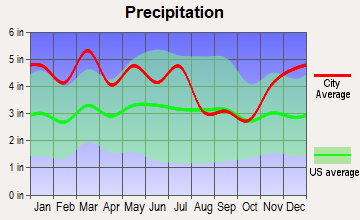 Louisville, Tennessee average precipitation
