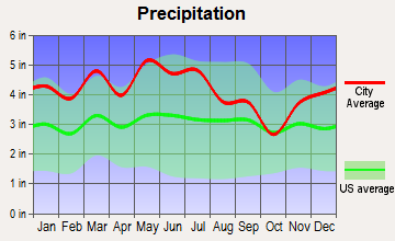 Pigeon Forge, Tennessee average precipitation