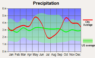 Caney City, Texas average precipitation