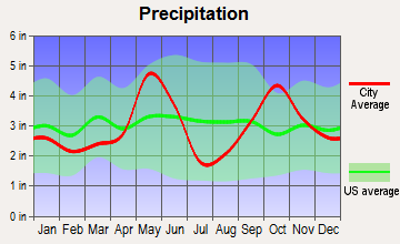 Circle D-KC Estates, Texas average precipitation