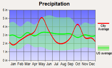 Colleyville, Texas average precipitation