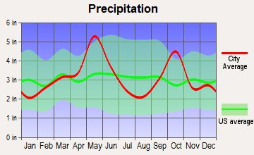 Dalworthington Gardens, Texas average precipitation