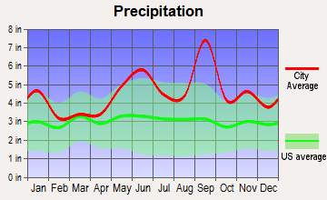 Danbury, Texas average precipitation