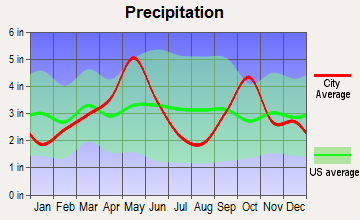Flower Mound, Texas average precipitation