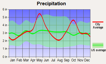 Frisco, Texas average precipitation