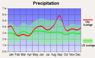 Galveston, Texas average precipitation