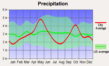 Grapevine, Texas average precipitation