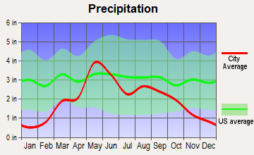 Higgins, Texas average precipitation