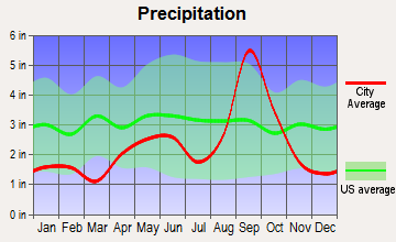 Indian Lake, Texas average precipitation