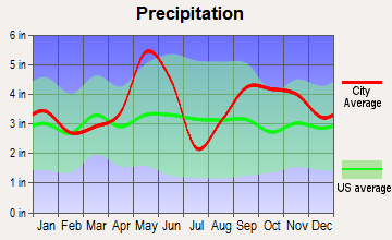 Industry, Texas average precipitation