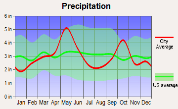 Kennedale, Texas average precipitation