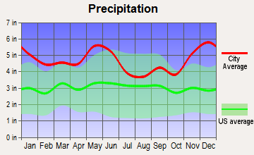 Kirbyville, Texas average precipitation