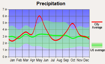 Krugerville, Texas average precipitation