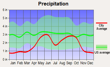 La Presa, Texas average precipitation