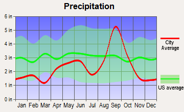 Lozano, Texas average precipitation
