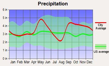 Midway, Texas average precipitation
