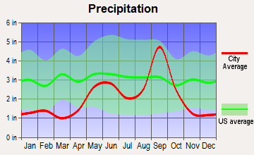 Midway North, Texas average precipitation
