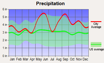 Mission Bend, Texas average precipitation