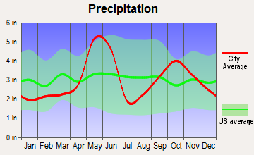Niederwald, Texas average precipitation