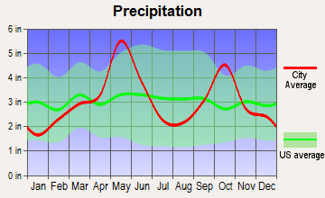 Pecan Acres, Texas average precipitation