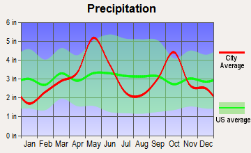 Pelican Bay, Texas average precipitation