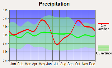 Cayuga, Texas average precipitation