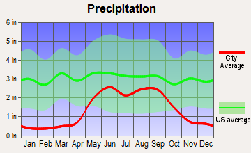 South Sand Hills, Texas average precipitation