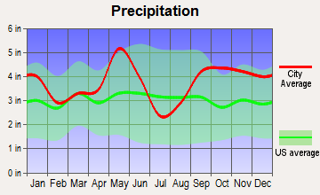 Anderson-Bedias, Texas average precipitation