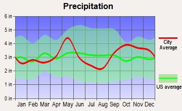 Rosebud, Texas average precipitation