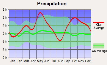 Roxton, Texas average precipitation