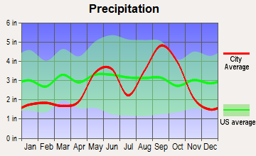 Spring Garden-Terra Verde, Texas average precipitation