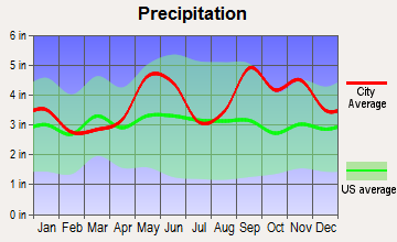 Wallis, Texas average precipitation