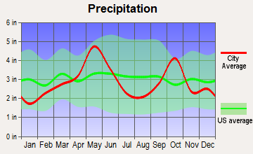Westover Hills, Texas average precipitation